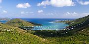 High-angle view of Coral Bay, St. John, US Virgin Islands