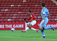 Middlesbrough's Djed Spence scores his side's second goal <br /> <br /> Photographer Alex Dodd/CameraSport<br /> <br /> The EFL Sky Bet Championship - Middlesbrough v Coventry City - Tuesday 27th October 2020 - Riverside Stadium - Middlesbrough<br /> <br /> World Copyright © 2020 CameraSport. All rights reserved. 43 Linden Ave. Countesthorpe. Leicester. England. LE8 5PG - Tel: +44 (0) 116 277 4147 - admin@camerasport.com - www.camerasport.com