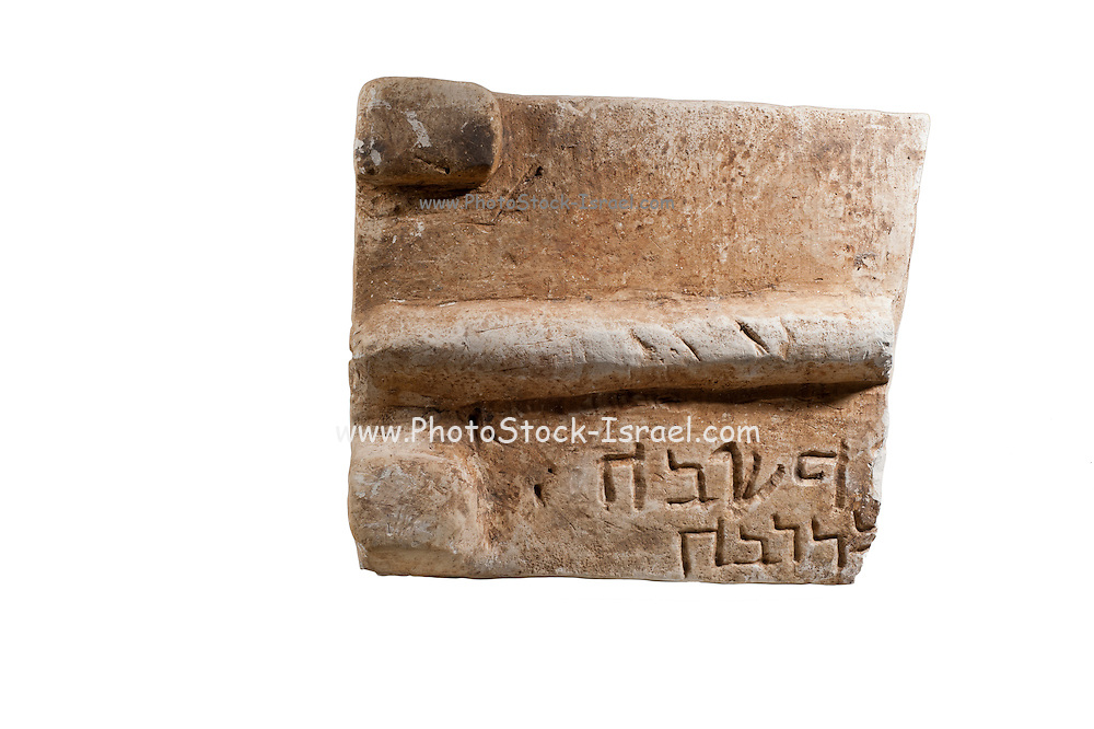 Fragment of a lid of a Jewish Ossuary with with Hebrew inscription 5st century CE