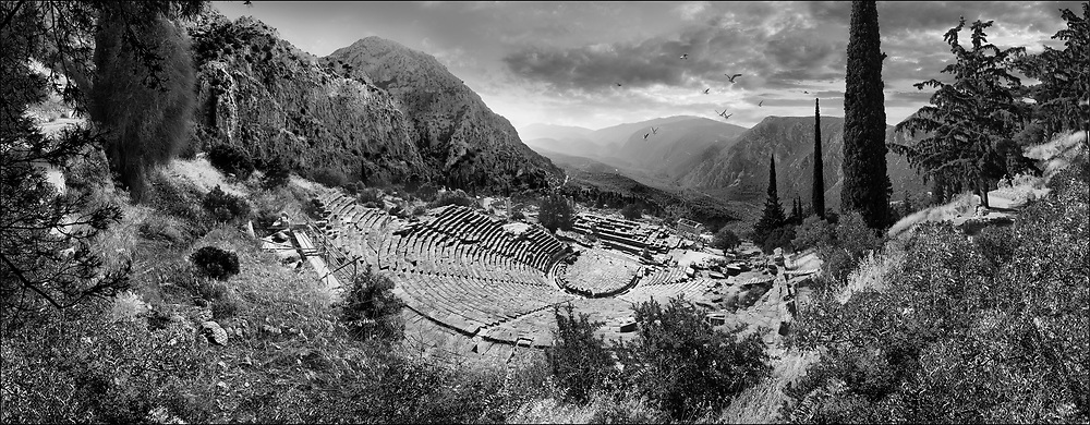Sacred Stone - Black and white photo art print of Ancient Greek Theatre of Delphi, Delphi Archaeological site, Delphi, Greece by Paul Williams. .<br /> <br /> Visit our LANDSCAPE PHOTO ART PRINT COLLECTIONS for more wall art photos to browse https://funkystock.photoshelter.com/gallery-collection/Places-Landscape-Photo-art-Prints-by-Photographer-Paul-Williams/C00001WetsxVxNTo