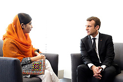 French president, Emmanuel Macron and his wife Brigitte meet Nobel Price, Malala Yousafzai, during the 72 general assembly of United States organisation, on september 20th, 2017, New-York, United States. Photo by Stephane Lemouton/Pool/ABACAPRESS.COM