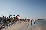Crowds waiting for the cancelled sailing medal race event at Marina Da Gloria, Rio 2016, Rio de Janeiro, Brazil.