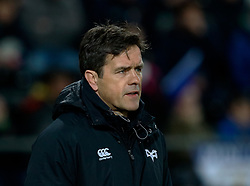 Ospreys' Head Coach Allen Clarke during the pre match warm up<br /> <br /> Photographer Simon King/Replay Images<br /> <br /> Guinness PRO14 Round 19 - Ospreys v Leinster - Saturday 24th March 2018 - Liberty Stadium - Swansea<br /> <br /> World Copyright © Replay Images . All rights reserved. info@replayimages.co.uk - http://replayimages.co.uk
