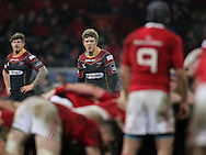 Angus O'Brien of the Dragons keeps his eye on the scrum.<br /> Guinness Pro12 rugby match, Munster v Newport Gwent Dragons at Thomond Park in Limerick , Ireland on Saturday 5th March 2016.<br /> pic by  John Halas, Andrew Orchard sports photography.