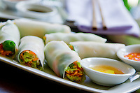 Fresh shrimp spring rolls are a local speciality in Hoi An, Vietnam.