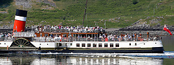 Waverley is one of the world's greatest historic ships – the last sea-going paddle steamer in the world. Waverley starts her season sailing amidst the stunning scenery of the Western Isles . A packed Waverley seen here departing Oban for an afternoon cruise to The Corryvreckan Whirlpool (c) Stephen Lawson   Edinburgh Elite media