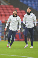Crystal Palace midfielder James McArthur (18) and Crystal Palace defender Martin Kelly (34) warming up prior to the Premier League match between Crystal Palace and Wolverhampton Wanderers at Selhurst Park, London, England on 30 January 2021.
