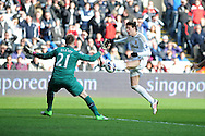 Swansea city's Michu has a shot at goal saved by Newcastle keeper Rob Elliot. Barclays premier league, Swansea city v Newcastle Utd at  the Liberty stadium in Swansea, South Wales on Saturday 2nd March 2013. pic by  Andrew Orchard, Andrew Orchard sports photography,