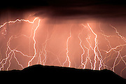 Lightning striking the Ajo Mountains, Organ Pipe Cactus National Monument, Arizona