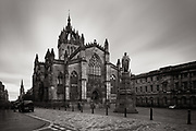 A 40-second exposure of St. Giles Cathedral in Edinburgh, Scotland