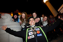 Jernej Damjan with fans during reception of Slovenian Ski jumping team after they get bronze team medal and R. Kranjec became World Champion at FIS Ski Flying World Championships 2012 in Vikersund, Norway, on February 28, 2012 in Kongresni try, Ljubljana, Slovenia.  (Photo By Vid Ponikvar / Sportida.com)