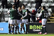 Goal - Luke Jephcott (31) of Plymouth Argyle celebrates scoring a goal to make the score 2-1 during the EFL Sky Bet League 2 match between Plymouth Argyle and Crawley Town at Home Park, Plymouth, England on 28 January 2020.