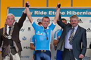 Winner Philip Colleran,Ennis with Mayor of Clare Christy Curtin and Mayor of Ennis Tommy Brennan at the Etap Hibernia Sky Ride in Ennis on Sunday. Photograph by Eamon Ward