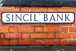 A Sincil Bank street sign close to Sincil Bank Stadium, home to Lincoln City - Mandatory by-line: Ryan Crockett/JMP - 08/09/2018 - FOOTBALL - Sincil Bank Stadium - Lincoln, England - Lincoln City v Crawley Town - Sky Bet League Two