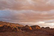 Sunset and storm clouds over Petra, Jordan.