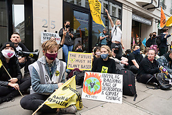 © Licensed to London News Pictures. 03/09/2020. London, UK. Animal Rebellion protesters demonstrate near an abandoned truck outside the Department of health in Victoria St. Protesters have fixed themselves outside and inside the truck. Photo credit: Ray Tang/LNP
