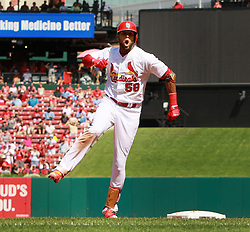 September 14, 2017 - St Louis, MO, USA - The St. Louis Cardinals' Jose Martinez reacts after hitting a two-out single to drive in two runs in the third inning against the Cincinnati Reds on Thursday, Sept. 14, 2017, at Busch Stadium in St. Louis. The Cards won, 5-2. (Credit Image: © Chris Lee/TNS via ZUMA Wire)