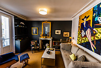 Living room of an apartment in the 7th arrondissement, Paris, France.