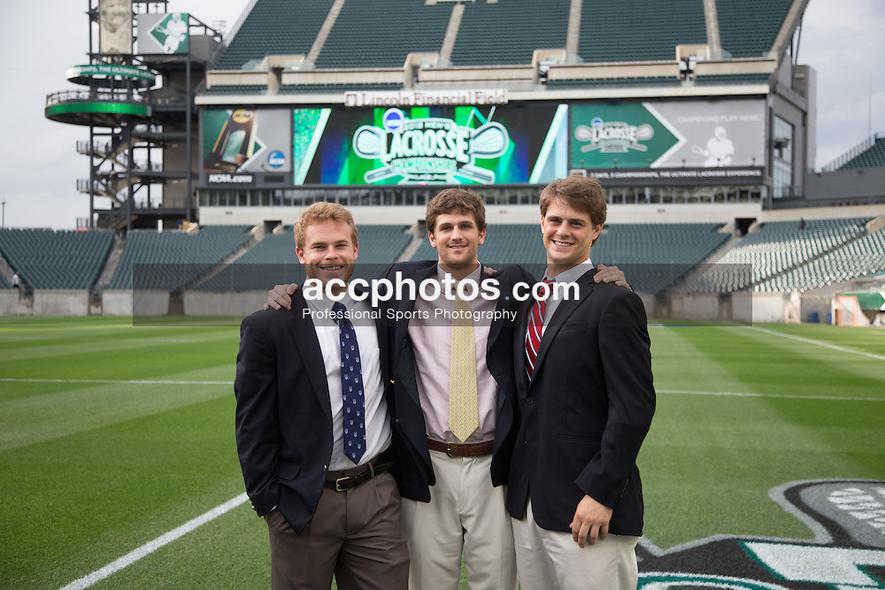 2013 May 23: Spencer Peterson #44, Tommy Patterson #18 and Henry Meyer #24 of the Duke Blue Devils at Lincoln Financial Field for media engagements and a banquet Philadelphia, PA.