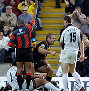 Wycombe. GREAT BRITAIN, 10th October 2004, Guinness Premiership Rugby, London Wasps and Newcastle Falcons, Adams Park, ENGLAND. [Mandatory Credit; Pete Spurrier/Intersport-images]<br /> <br /> Wasps, Joe Worsley getting up after touching down in the corner.
