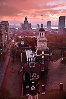 A photo of Independence Hall in Philadelphia, Pa., taken at sunrise on a rainy morning.