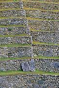 Dry-stone walls of Machu Picchu ruins of Inca citadel in Peru, South America