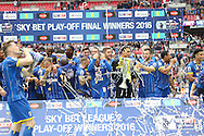Trophy lift. AFC Wimbledon promotion to League One, after beating Plymouth Argyle Football Club 2-0 during the Sky Bet League 2 play off final match between AFC Wimbledon and Plymouth Argyle at Wembley Stadium, London, England on 30 May 2016. Photo by Stuart Butcher.