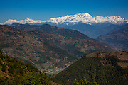 The Mansiri Himal mountain range and Himalchuli mountain acorss the valley on the 6th of March 2020 in the Mansiri Hilam subrange of the Himalayas in North Central Nepal.  Himalchuli is the second highest mountain in the Mansiri Himal, part of the Nepalese Himalayas. Himalchuli has three main peaks: East, West and North.  (photo by Andrew Aitchison / In pictures via Getty Images)