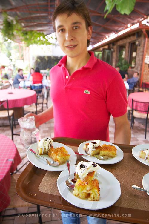 Waiter serving typical Greek dishes. Rakokazano restaurant in Strantza village near Naoussa. Macedonia, Greece.