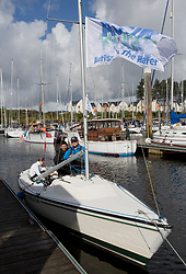 Pelle P Kip Regatta 2017 run by Royal Western Yacht Club at Kip Marina on the Clyde. <br /> <br /> Murray MacDonald, Autism on the Water, Sonar<br /> <br /> Image Credit Marc Turner