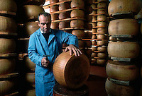 November 1989, Parma, Italy --- Man Measuring the Solidity of Parmesean Cheese --- Image by © Owen Franken/CORBIS
