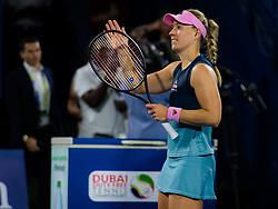 February 19, 2019 - Dubai, ARAB EMIRATES - IAngelique Kerber of Germany celebrates winning her second-round match at the 2019 Dubai Duty Free Tennis Championships WTA Premier 5 tennis tournament (Credit Image: © AFP7 via ZUMA Wire)