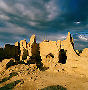 Ruins of the Second Century BC Silk Road city of Jiaohe, Yarnaz Valley, Silk Route, Turpan, Xinjiang Province, China.