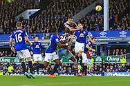 West Ham's Andy Carroll gets a header away at goal - Everton vs. West Ham United - Barclay's Premier League - Goodison Park - Liverpool - 22/11/2014 Pic Philip Oldham/Sportimage