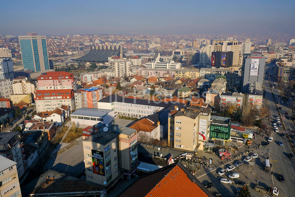 An overview of the Qendra area of Pristina, on the 13th of December 2018, the capital and largest city of Kosovo, it has a mainly Albanian population along with other smaller communities.