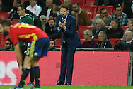 Gareth Southgate, the England interim manager looks on from the touchline. England v Spain, Football international friendly at Wembley Stadium in London on Tuesday 15th November 2016.<br /> pic by John Patrick Fletcher, Andrew Orchard sports photography.