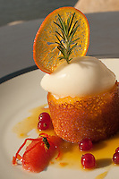 a Citrus dessert with a hungry bee