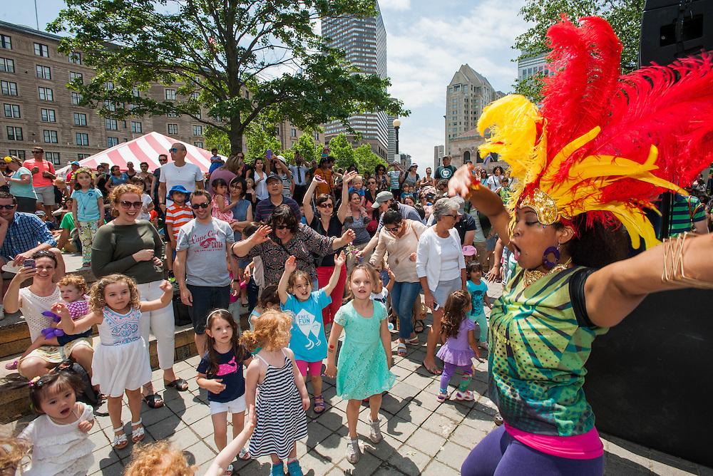 Kids enjoying a lesson in Brazilian dancing at the Hubbub Festival.