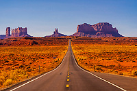 Dramatic view looking south on Highway 163 to the Monument Valley; near Mexican Hat, Utah USA.