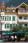 Cafe de Paris in Marktplatz  at Interlaken in the Bernese Oberland, Switzerland