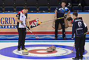 "Glasgow. SCOTLAND.  Last ""Stone in the Scotland vs Switzerland, ""Round Robin"" Game. Le Gruyère European Curling Championships. 2016 Venue, Braehead  Scotland<br /> Monday  21/11/2016<br /> <br /> [Mandatory Credit; Peter Spurrier/Intersport-images]"