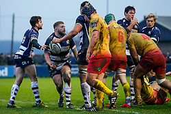 Bristol Rugby Hooker Chris Brooker (capt) celebrates after he scores a try - Mandatory byline: Rogan Thomson/JMP - 17/01/2016 - RUGBY UNION - Clifton Rugby Club - Bristol, England - Scarlets Premiership Select XV v Bristol Rugby - B&I Cup.