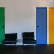 Ferminy, France, Alvernia Rodano Alpi, 2016: Maison de la Culture (1961-1965), interior view, at Boulevard Périphérique du Stade - Le Corbusier arch - Photographs by Alejandro Sala