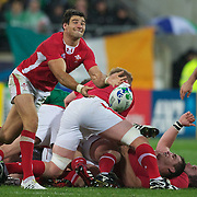 Mike Phillips, Wales, in action during the Ireland V Wales Quarter Final match at the IRB Rugby World Cup tournament. Wellington Regional Stadium, Wellington, New Zealand, 8th October 2011. Photo Tim Clayton...