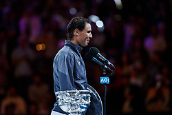 January 28, 2019 - Melbourne, VIC, U.S. - MELBOURNE, VIC - JANUARY 27: RAFAEL NADAL (ESP) during day fourteen match of the 2019 Australian Open on January 27, 2019 at Melbourne Park Tennis Centre Melbourne, Australia (Photo by Chaz Niell/Icon Sportswire (Credit Image: © Chaz Niell/Icon SMI via ZUMA Press)