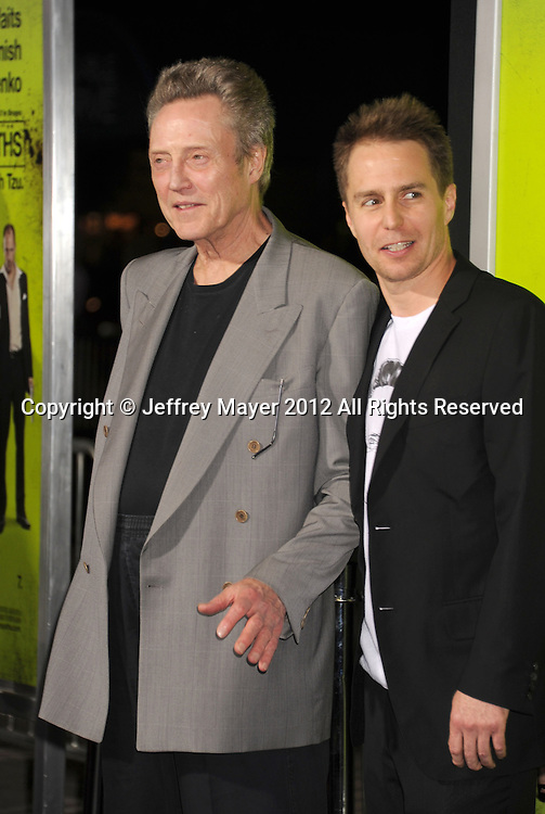 WESTWOOD, CA - OCTOBER 01: Christopher Walken and Sam Rockwell arrive at the Los Angeles premiere of 'Seven Psychopaths' at Mann Bruin Theatre on October 1, 2012 in Westwood, California.