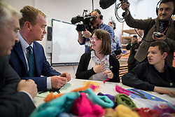 © Licensed to London News Pictures. 16/05/2017. Portsmouth, UK. Liberal Democrat party leader Tim Farron (2L) and local candidate Gerald Vernon-Jackson (L) meet with students at the Mary Rose Academy special needs school. The Lib Dems have today announced plans for education and business during campaigning for the general election on June 8, 2017.  Photo credit: Peter Macdiarmid/LNP