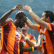 Galatasaray's Aurelien Bayard Chedjou Fongang (L) celebrate his goal with team mate during their Turkish Super League soccer match Galatasaray between Sivasspor at the TT Arena at Seyrantepe in Istanbul Turkey on Friday, 26 September 2014. Photo by Kurtulus YILMAZ/TURKPIX
