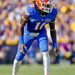 Oct 12, 2013; Baton Rouge, LA, USA; Florida Gators linebacker Neiron Ball (11) against the LSU Tigers during the first half of a game at Tiger Stadium. Mandatory Credit: Derick E. Hingle-USA TODAY Sports