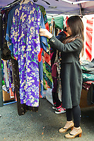 """Used Kimono at Kitano Tenmangu Market- On the 25th of every month, the shrine hosts a flea market. Together with the similar market at Toji Temple, they inspired the Kyoto proverb, """"Fair weather at Toji Market means rainy weather at Tenjin market,"""" referring to Kyoto's fickle weather."""